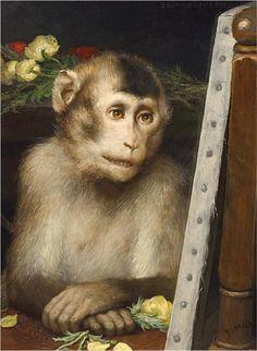 Gabriel von Max, Gabriel von Max Monkey Viewing Painting