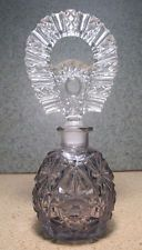 Antique Czechoslovakian Art Deco Amethyst Cut Art Glass Scent/Perfume Bottle yqz