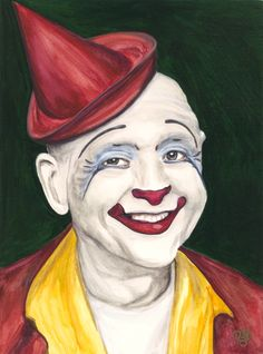 Watercolor Clown Master Clown Frosty Little 9 X 12 on Canson Watercolor 140 lb paper Original Available Soon
