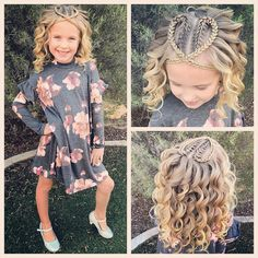 Today we did our favorite heart hairstyle! It always gets tons of comments wherever we go! It's two French braids with a cross cross that…