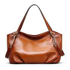 Vintage Fashion and Lifestyle AINIMOER Fashion Lady Soft Leather Vintage Shoulder Bag Handbag Tote Top-handle Purse Cross Body Bag