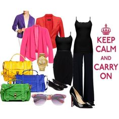 Black plus colors. Keep calm and spice black up!, created by puteribandge on Polyvore