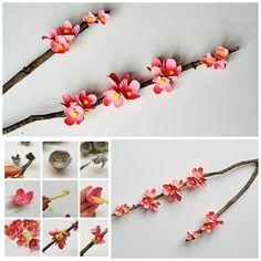 EGG CARTON CHERRY BLOSSOM BRANCH  Get the directions here -> http://craftsbyamanda.com/egg-carton-cherry-blossom-branch/