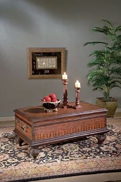 "Butler Specialty Company Heritage Trunk Cocktail Table MPN: 1407070 by Butler Specialty Company. $959.05. Weight: 96 lbs. No assembly required. Heritage finish. Dimensions: 48""W x 28""D x 22""H. Coffee table. Selected hardwoods and wood products. Faux leather covers all surfaces. Antique brass finished hardware. MPN: 1407070. Save 17%!"