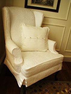 Another slipcovered chair