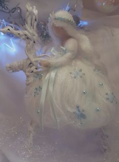 Needle felting snow fairy Chistmas inspired Waldorf