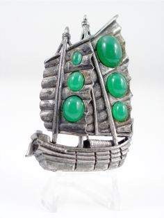 Art Deco Chinese Junk Brooch Green Glass Pot Metal Pin brought to you by VintageGemz $65.00
