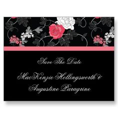 Pink White Roses on Black Save The Date Post Card by dmboyce