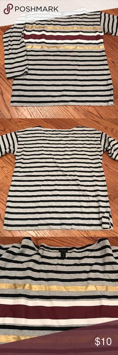 Jcrew 3/4 long sleeve Navy and grey striped with gold, maroon and white stripes. 3/4 sleeve J. Crew Tops Tees - Long Sleeve