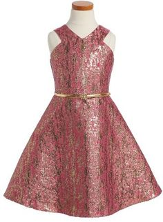 Birls Blush By US Angels Jacquard Fit & Flare Dress $74 At Nordstrom Pink metallic jacquard dress, angular bodice, flared skirt  https://api.shopstyle.com/action/apiVisitRetailer?id=612479853&pid=uid841-37799971-81