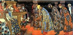 The merchants visit Tsar in 'The Tale of Tsar Saltan', by Ivan Bilibin.