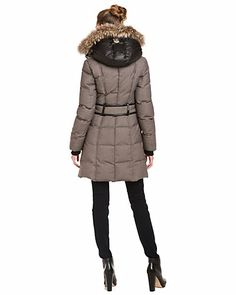 """Mackage 'Lainey' Grey Fur Trim Coat. Love the contrast hood and the """"belt"""" that only runs across the back for definition."""