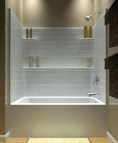 acrylic one piece tub shower. Small White Corner Tub Shower Combo for Bathroom Furniture Design  Inspirations with Rectangle Shaped Bathtub Style that have Metal Stainless Steel FINALLY It s been so difficult to find an attractive one piece