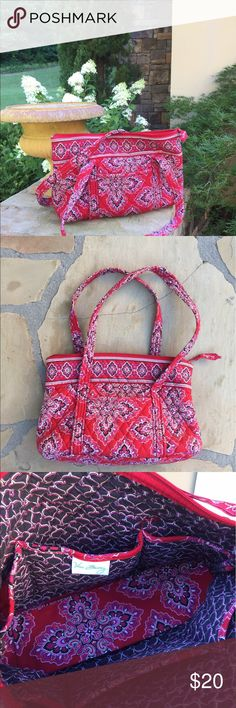 Vera Bradley bag Frankly Scarlet Retired pattern in red, pink and black.  The bag is in great condition. Vera Bradley Bags Shoulder Bags