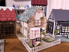 Box Houses, Putz Houses, Paper Houses, Tonic Cards, Shots Ideas, Paper Towns, Tudor House, Big Shot, Little Houses