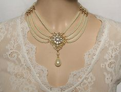 Bridal Pearl Necklace, Pearls Chocker Necklace Jewelry