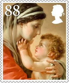Madonna & Child stamps. Royal Mail alternates between religious and secular designs. This year is a religious year, so there are seven values featuring the Madonna and Child.