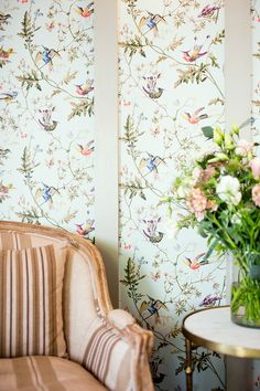 Wallpaper – Some Favorite Sources, Hot Tips {and a naughty vendor} Mirabelle Suites and Cafe via Rethink Design Studio featuring Cole and Son Humming Birds wallpaper