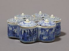 Condiment box  Place of origin:  Iran (made)  Date:  1690-1720 (made)  Artist/Maker:  Unknown (production)  Materials and Techniques:  Fritware, underglaze painted in blue