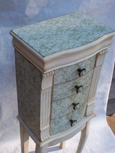 Sage and Cream Repurposed Jewelry Armoire by funandfancydesigns, $350.00