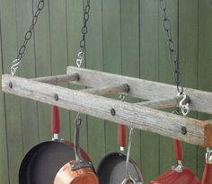 kitchen pot rack using old ladder    This is what I REALLY want, but not sure if there is room! :( kjg