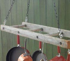 kitchen pot rack using old ladder