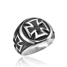 Stainless Steel Part Jewelry Cool Fashion Iron Cross Ring Man Black Oil Painting #Affiliate