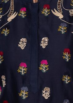 Navy blue cotton kurti in multi color floral butti only on Kalki Embroidery On Kurtis, Hand Embroidery Dress, Kurti Embroidery Design, Embroidery Fashion, Hand Embroidery Designs, Printed Kurti Designs, Kurta Designs, Blouse Designs, Kurta Patterns