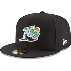 Men s Tampa Bay Rays New Era Black Cooperstown Inaugural Season 59FIFTY  Fitted Hat d5d4966d7a2