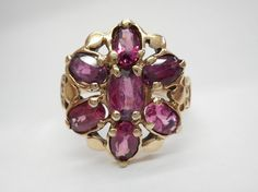 SALE Vintage 10k Yellow Gold Rhodolite Garnet Cluster Ring Sz 5 #1650 Check out this item and more at mmjewelersknoxville on eBay!