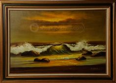 Vintage Seascape Beach Shore Waves Oil Painting 31 x 43 inWaves Crashing on ShoreFramed Oil on canvas Painting Singned ( Nitamas )Pick up only - Large ItemVery Good Condition Wall Decor, Wall Art, Beach Waves, Art Auction, Ocean, Oil, Artwork, Painting, Vintage