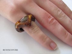 Hand Carved Oak Ring Arrow Peak Bridal Wood Ring by rusticouture
