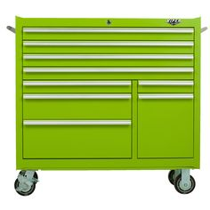 The Original Pink Box – 41-Inch Lime 9 Drawer Rolling Cabinet