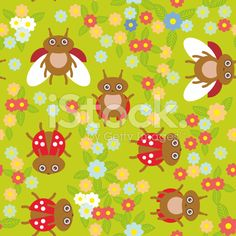 Funny insects ladybugs seamless pattern green background flowers leaves. Vector royalty-free stock vector art