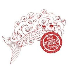 Siren Lorelei Unmounted Red Rubber Stamp