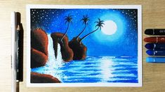 easy drawings How To Draw Moonlight Waterfall Scenery with Oil Pastel Step by Step - Scenery Paintings, Oil Pastel Paintings, Oil Pastel Art, Oil Pastel Drawings, Art Drawings For Kids, Easy Drawings, Pencil Drawings, Oil Pastel Techniques, Waterfall Scenery