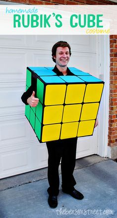 Homemade Rubik's Cube Costume Tutorial at thebensonstreet.com #diy #halloween