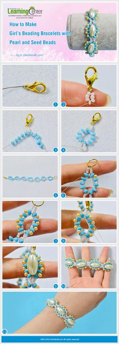 Tutorial for Girl's Beading Bracelets with Pearl and Seed Beads from LC.Pandahall.com