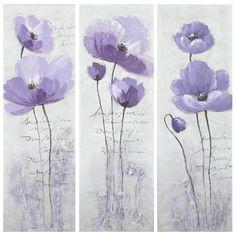 Safavieh Works of Art Purple Poppy 3-piece Canvas Art | Overstock.com