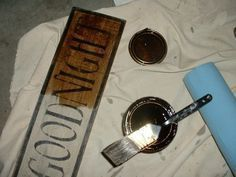 """how to make your own primitive looking signs. She uses stencils, acrylic paint, stain, and 6"""" boards"""