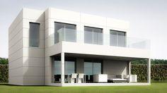 Imagen del exterior del modelo de casa modular de dos plantas de Aplihorsa Modular. Mansions, House Styles, Outdoor Decor, Home Decor, Villas, 1, Spaces, Minimalist Home, Model