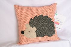 Items similar to Woodland Hedgehog Applique Pillow on Etsy Quilting Projects, Crochet Projects, Sewing Projects, Woodland Decor, Woodland Bedroom, Applique Pillows, Applique Patterns, Hedgehog Craft, Felt Pillow