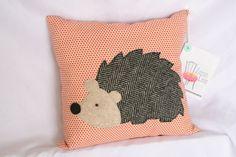 Woodland Hedgehog Applique Pillow by shopzinnialane on Etsy, $25.00