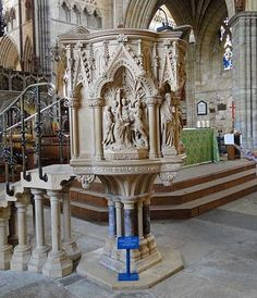 Exeter Cathedral - Martyrs' Pulpit Exeter Cathedral, Exeter Devon, Cathedrals, Scenery, Carving, Christian, World, Design, Art