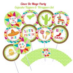 Cinco De Mayo Party - Cupcake Toppers & Wrappers - DIY Party Printables - Digital Download and Print. $8.00, via Etsy.