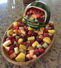 Fruit Bowl for Super Bowl Football Snacks, Football Parties, Flag Football, Football Banquet, Football Helmets, Football Tailgate, Football Season, Party Snacks, Party Trays