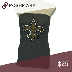 "New Orleans Saints Fluer Football T Shirt handmade New Orleans Saints Fluer Football T Shirt handmade from an upcycled cotton/poly t shirt.  Shirts are all handmade and may have side or back panels of cordinating colors   SIZE CHART Small fits 32""-34"" Medium fits 34""-36"" Large fits 36""-38"" XL fits 38""-40"" XXL fits 40""-42"" Tops Tees - Short Sleeve"