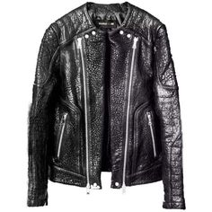 Pre-owned Balmain X H&m Limited Grained Leather Biker Size 38r... ($800) ❤ liked on Polyvore featuring outerwear, jackets, black, black motorcycle jacket, black jacket, moto biker jacket, zip jacket and zipper jacket