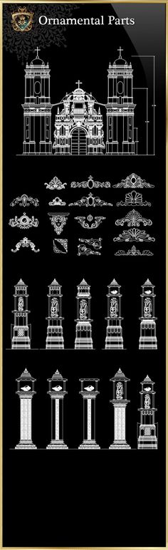 Ornamental Parts of Buildings The .DWG files are compatible back to AutoCAD  2000. These
