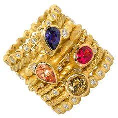 1stdibs - BARBARA HEINRICH Assorted Diamond and Gemstone Stacking Rings explore items from 1,700  global dealers at 1stdibs.com